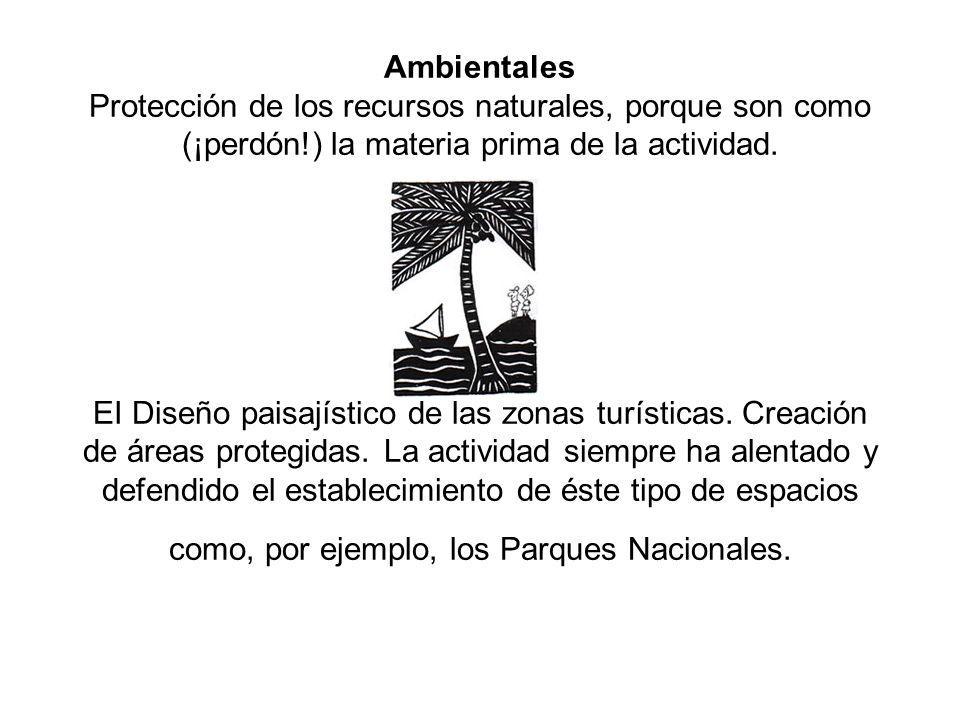 Ambientales Protección de los recursos naturales, porque son como (¡perdón!) la materia prima de la actividad.