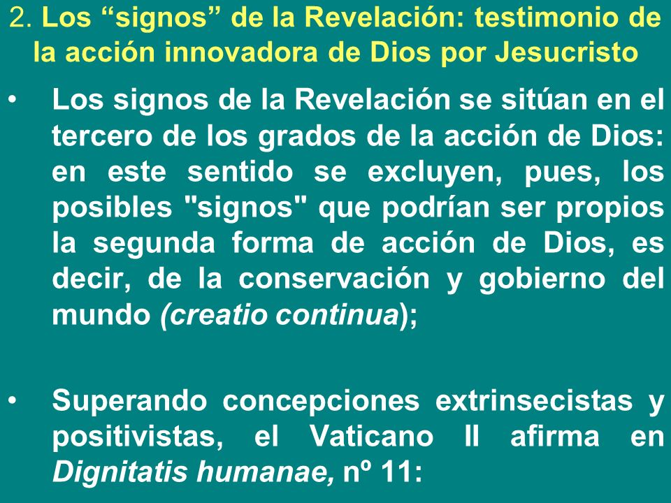 2. Los signos de la Revelación: testimonio de la acción innovadora de Dios por Jesucristo