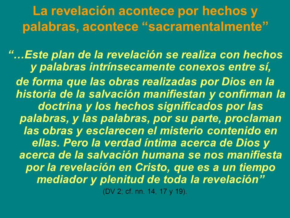 La revelación acontece por hechos y palabras, acontece sacramentalmente
