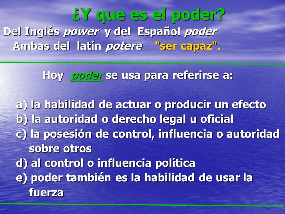 ¿Y que es el poder Del Inglés power y del Español poder