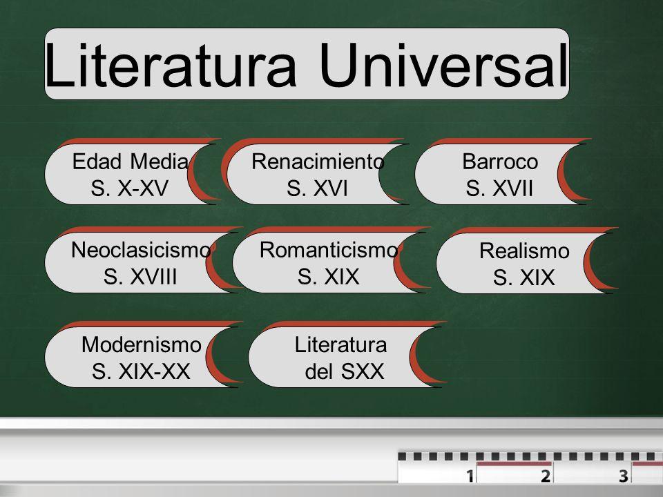 Literatura Universal Edad Media S. X-XV Renacimiento S. XVI Barroco