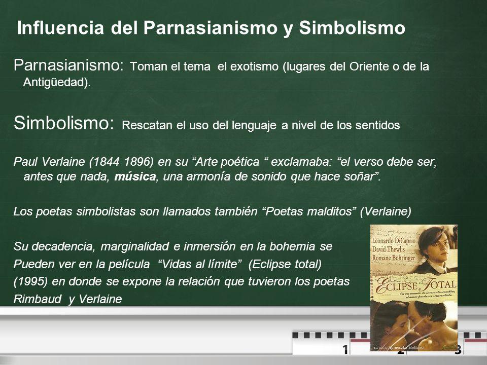 Influencia del Parnasianismo y Simbolismo