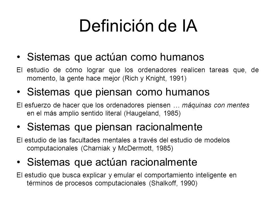 Definición de IA Sistemas que actúan como humanos