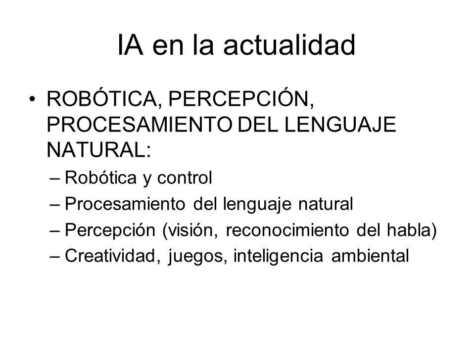 IA en la actualidad ROBÓTICA, PERCEPCIÓN, PROCESAMIENTO DEL LENGUAJE NATURAL: Robótica y control.