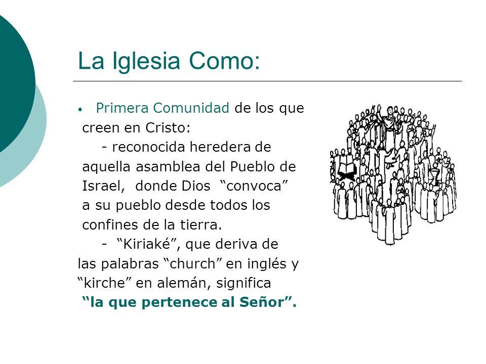 La Iglesia Como: Primera Comunidad de los que creen en Cristo: