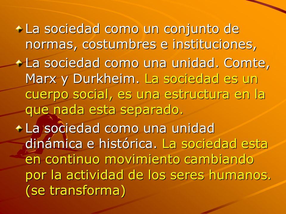 La sociedad como un conjunto de normas, costumbres e instituciones,