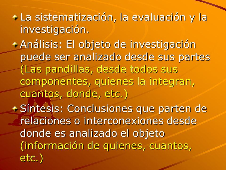 La sistematización, la evaluación y la investigación.