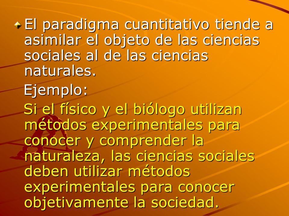 El paradigma cuantitativo tiende a asimilar el objeto de las ciencias sociales al de las ciencias naturales.
