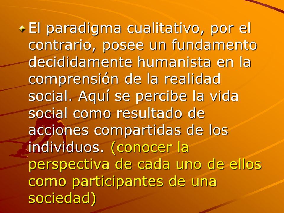El paradigma cualitativo, por el contrario, posee un fundamento decididamente humanista en la comprensión de la realidad social.