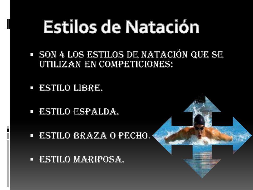 Estilos de Natación Son 4 los estilos de natación que se utilizan en competiciones: Estilo libre.
