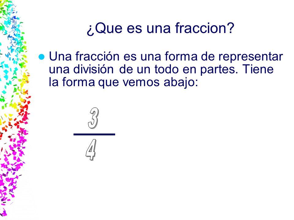 ¿Que es una fraccion Una fracción es una forma de representar una división de un todo en partes. Tiene la forma que vemos abajo: