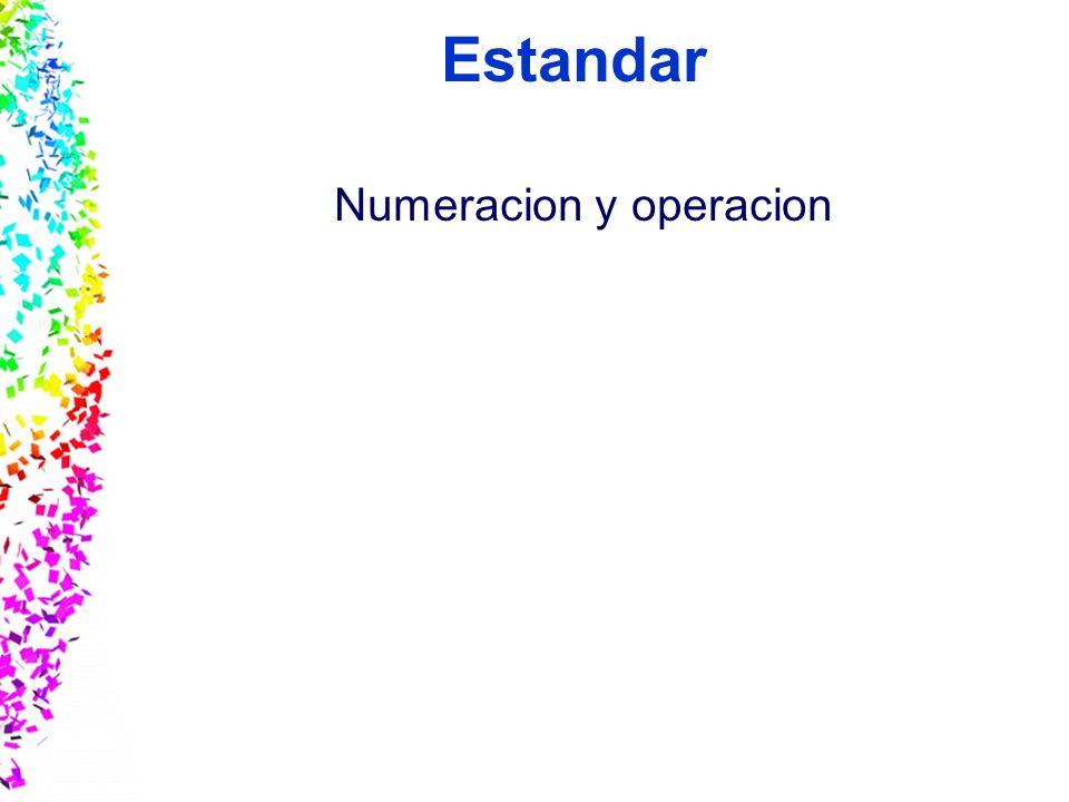 Estandar Numeracion y operacion