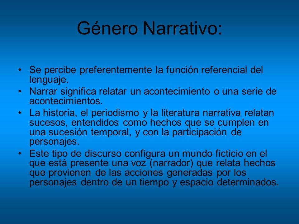 Género Narrativo:Se percibe preferentemente la función referencial del lenguaje.