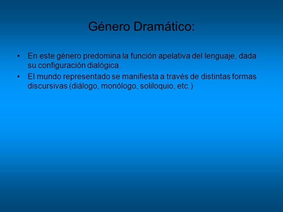Género Dramático: En este género predomina la función apelativa del lenguaje, dada su configuración dialógica.