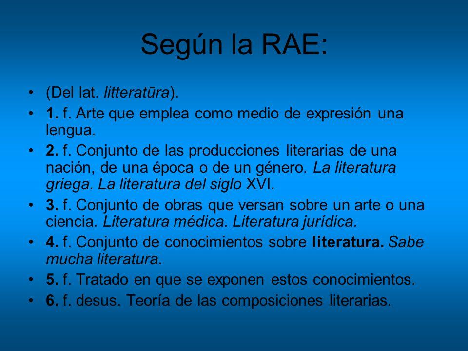 Según la RAE: (Del lat. litteratūra).