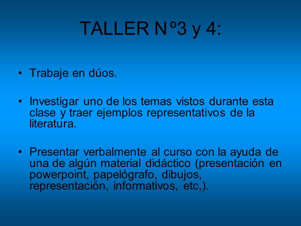 TALLER N º3 y 4: Trabaje en dúos.
