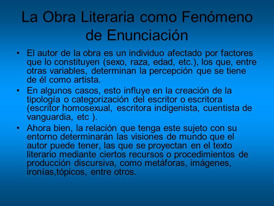 La Obra Literaria como Fenómeno de Enunciación