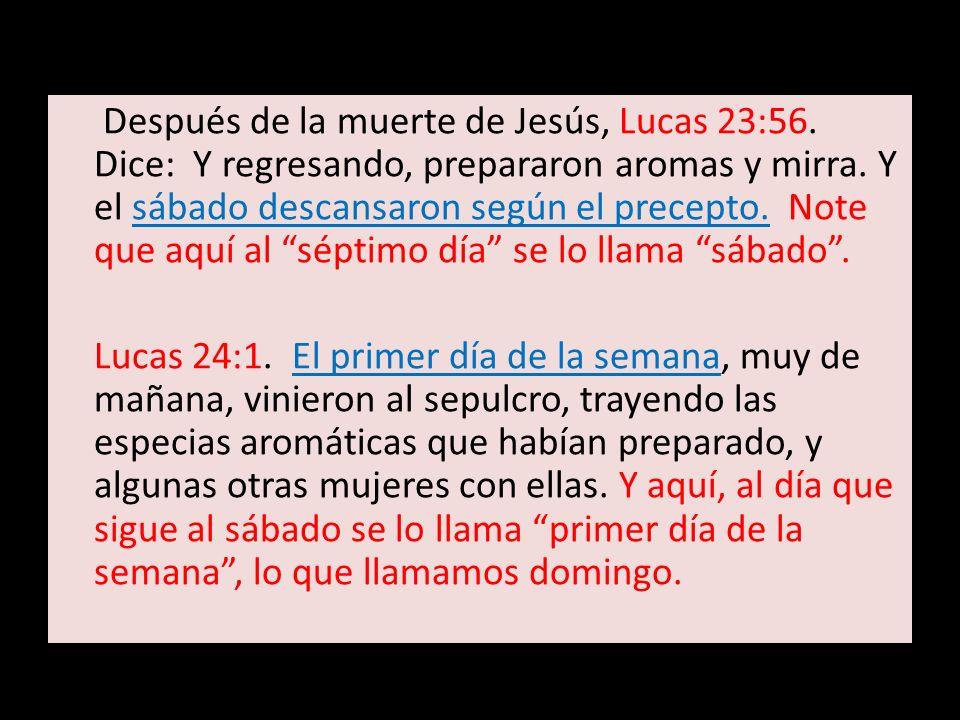 Después de la muerte de Jesús, Lucas 23:56
