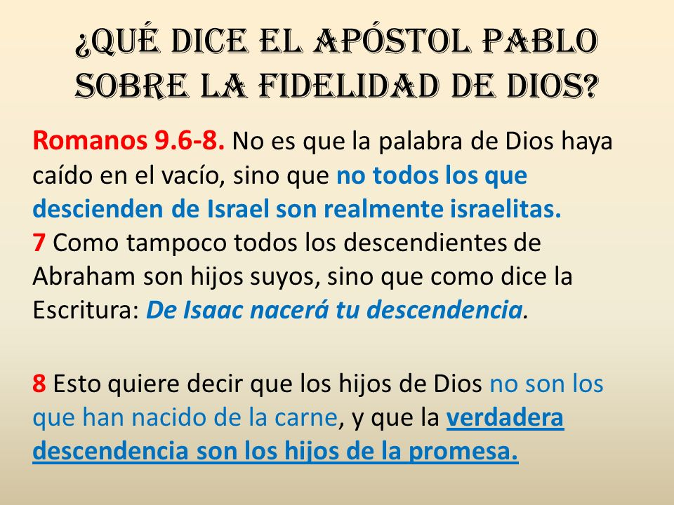 ¿Qué dice el apóstol Pablo sobre la fidelidad de Dios