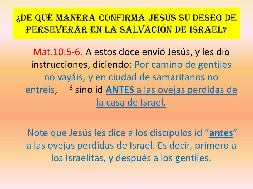 ¿De qué manera confirma Jesús su deseo de perseverar en la salvación de Israel