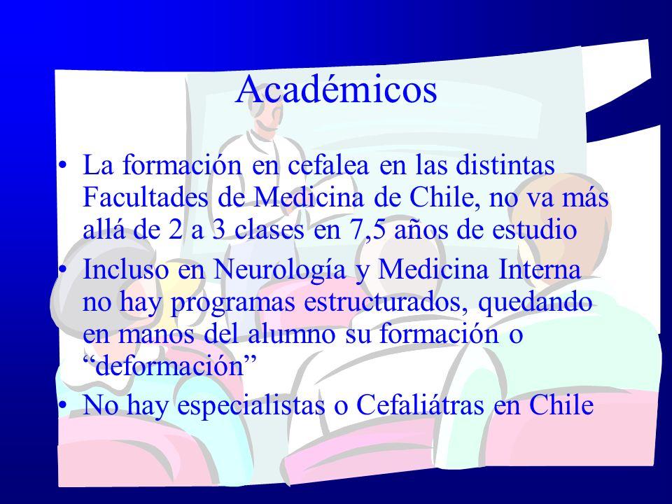 AcadémicosLa formación en cefalea en las distintas Facultades de Medicina de Chile, no va más allá de 2 a 3 clases en 7,5 años de estudio.
