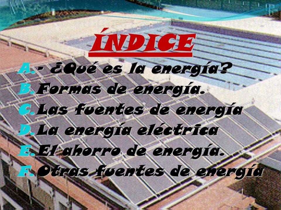 ÍNDICE - ¿Qué es la energía Formas de energía. Las fuentes de energía