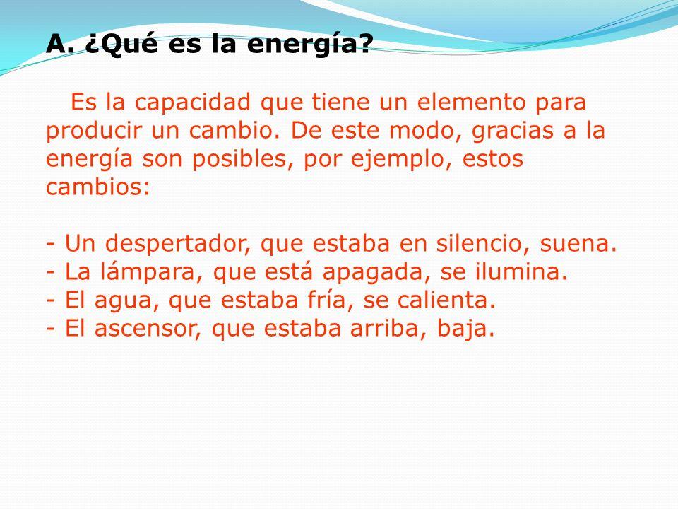 A.¿Qué es la energía. Es la capacidad que tiene un elemento para producir un cambio.