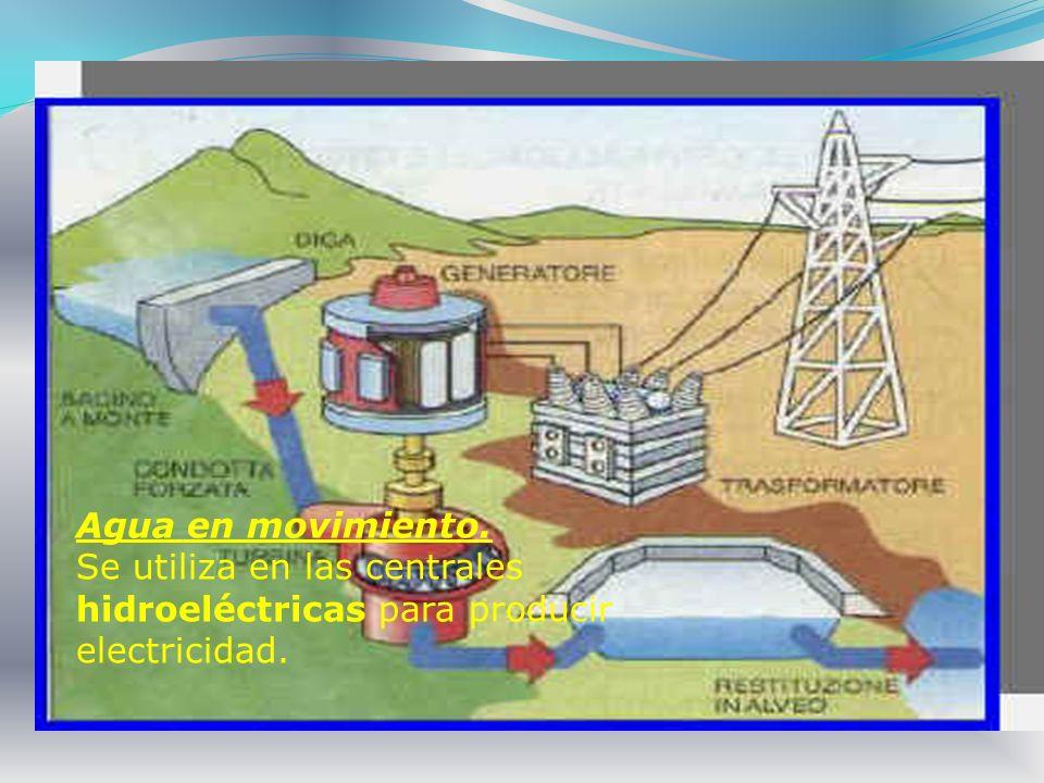Agua en movimiento. Se utiliza en las centrales hidroeléctricas para producir electricidad.