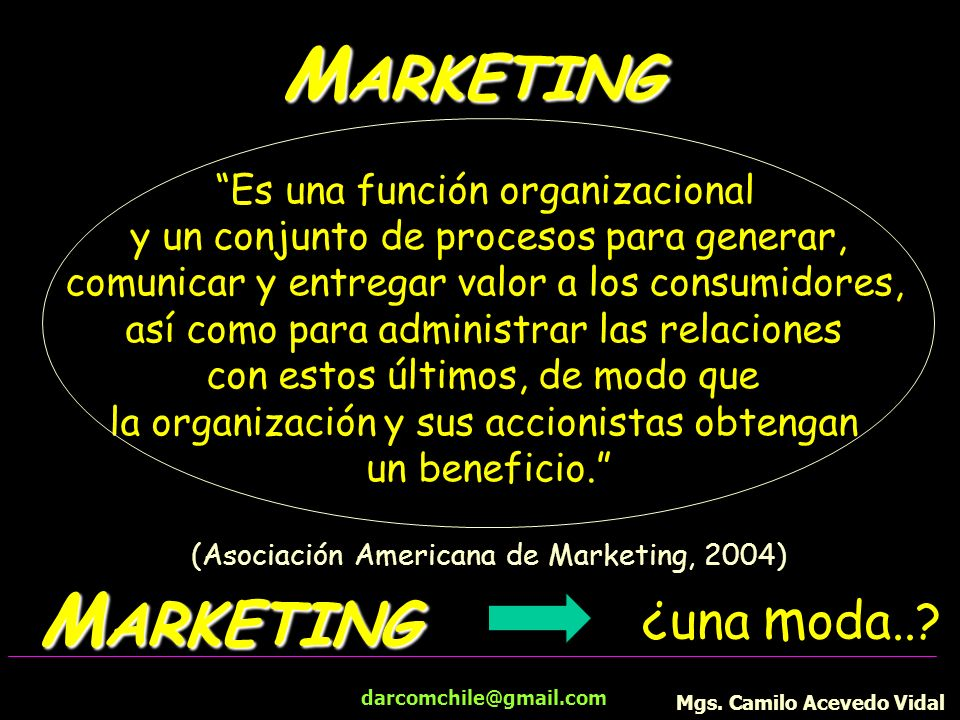 MARKETING MARKETING ¿una moda.. Es una función organizacional