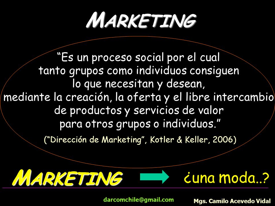 MARKETING MARKETING ¿una moda.. Es un proceso social por el cual
