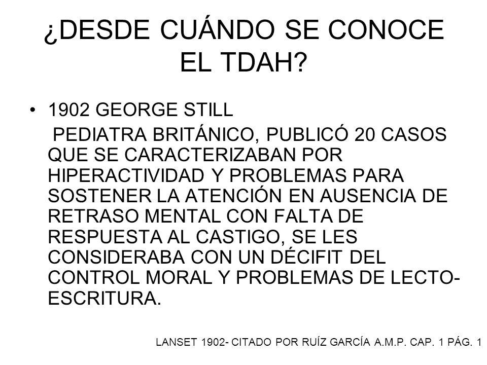¿DESDE CUÁNDO SE CONOCE EL TDAH