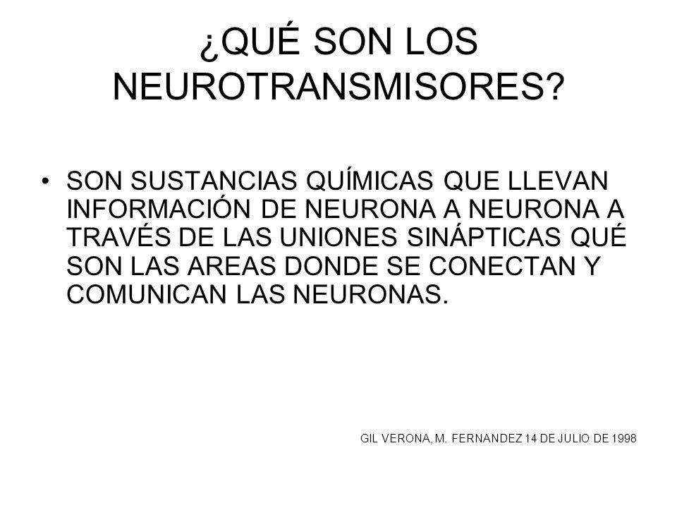 ¿QUÉ SON LOS NEUROTRANSMISORES