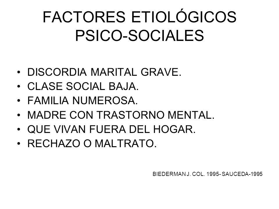 FACTORES ETIOLÓGICOS PSICO-SOCIALES