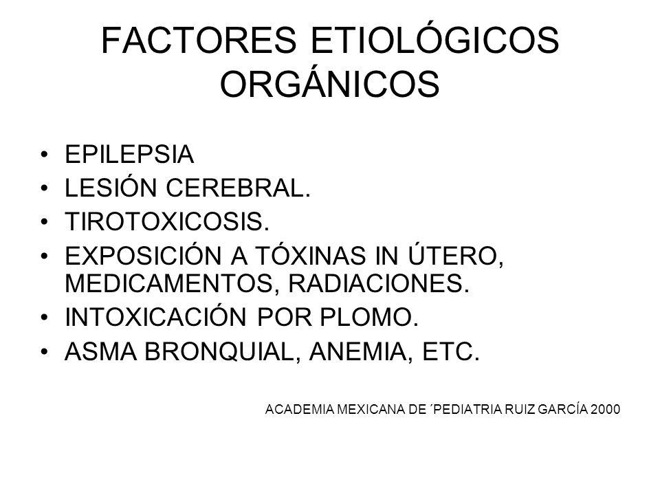 FACTORES ETIOLÓGICOS ORGÁNICOS