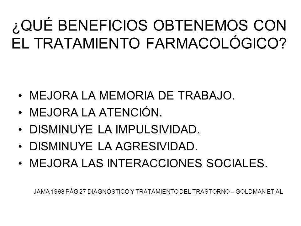 ¿QUÉ BENEFICIOS OBTENEMOS CON EL TRATAMIENTO FARMACOLÓGICO