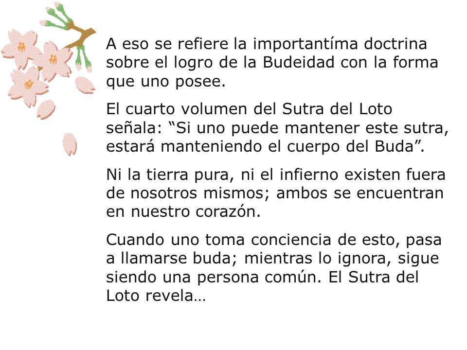 A eso se refiere la importantíma doctrina sobre el logro de la Budeidad con la forma que uno posee.