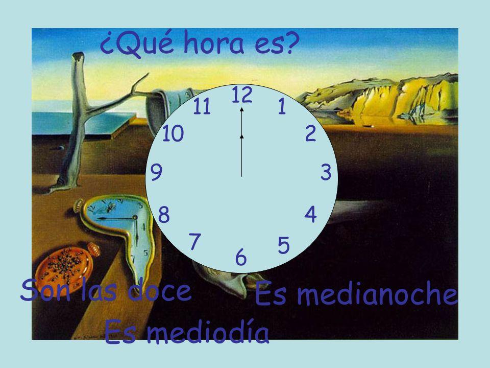 ¿Qué hora es Son las doce Es medianoche Es mediodía 12 11 1 10 2 9 3