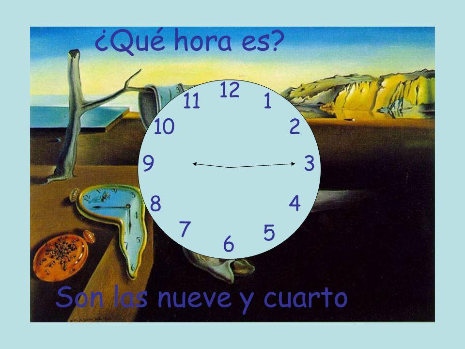 ¿Qué hora es 12 11 1 10 2 9 3 8 4 7 5 6 Son las nueve y cuarto
