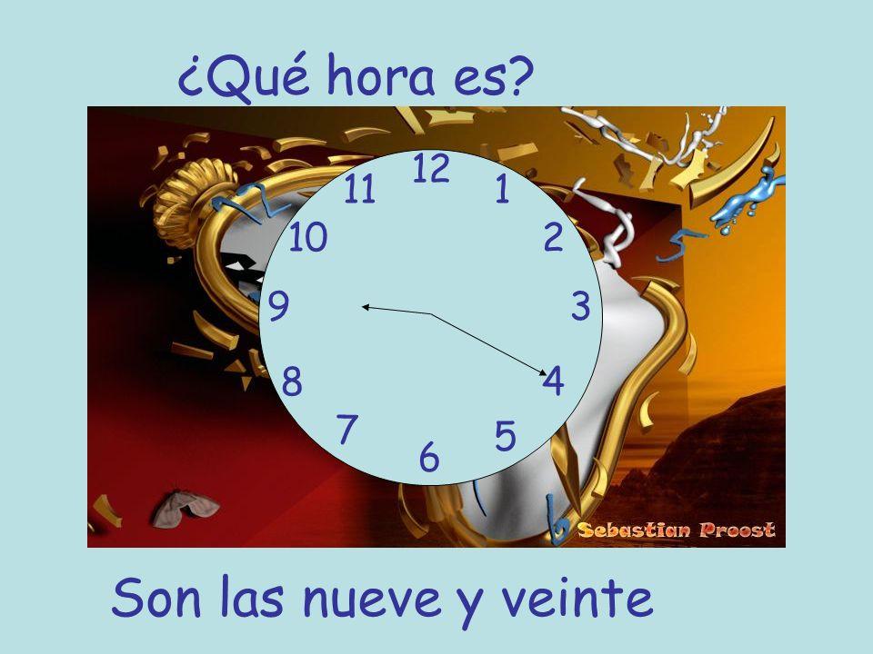¿Qué hora es 12 11 1 10 2 9 3 8 4 7 5 6 Son las nueve y veinte