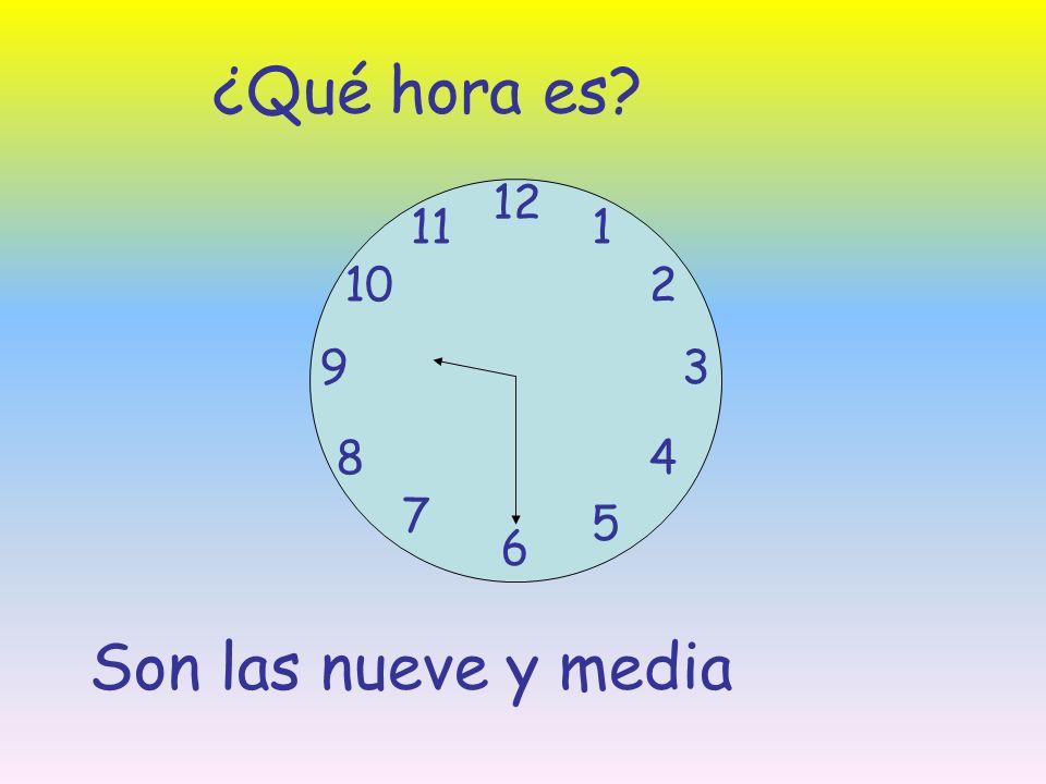 ¿Qué hora es 12 11 1 10 2 9 3 8 4 7 5 6 Son las nueve y media