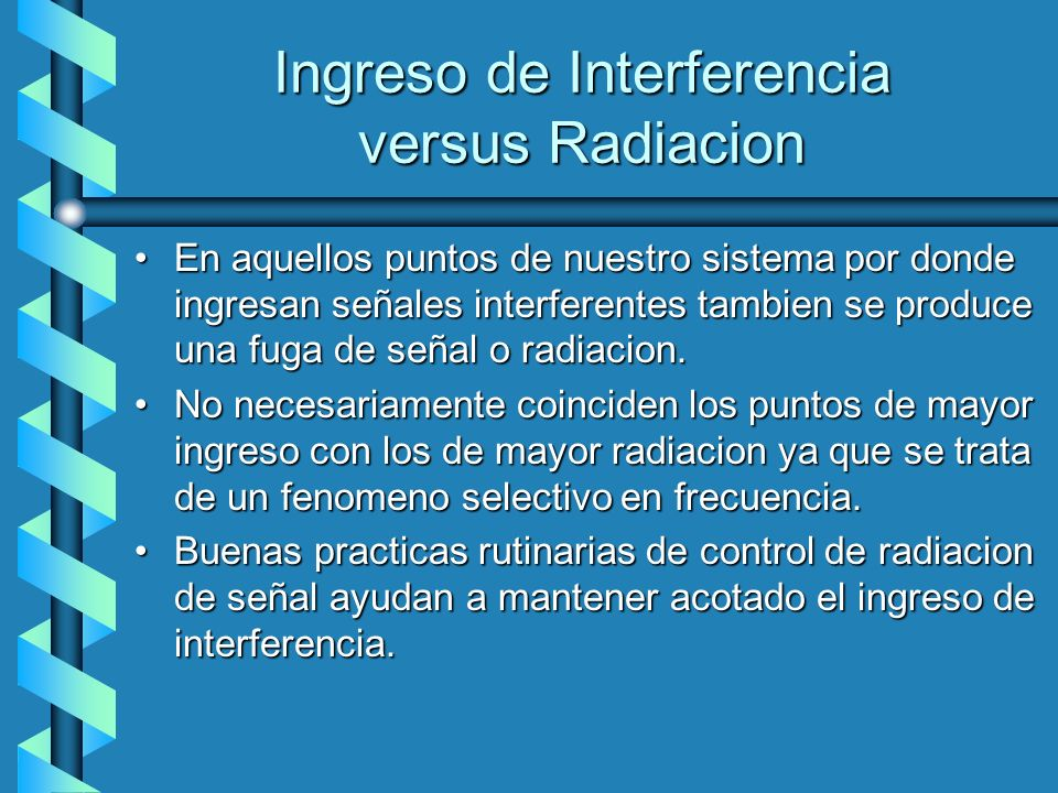 Ingreso de Interferencia versus Radiacion