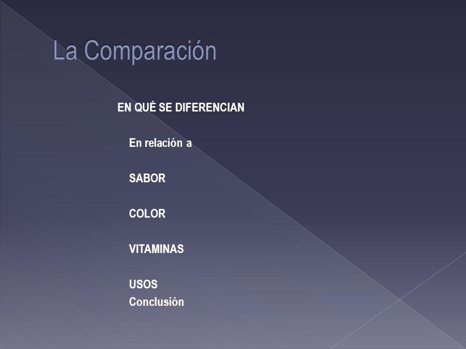La Comparación EN QUÉ SE DIFERENCIAN En relación a SABOR COLOR VITAMINAS USOS Conclusión