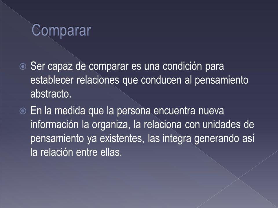Comparar Ser capaz de comparar es una condición para establecer relaciones que conducen al pensamiento abstracto.