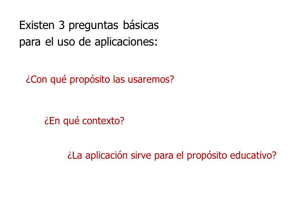 Existen 3 preguntas básicas para el uso de aplicaciones:
