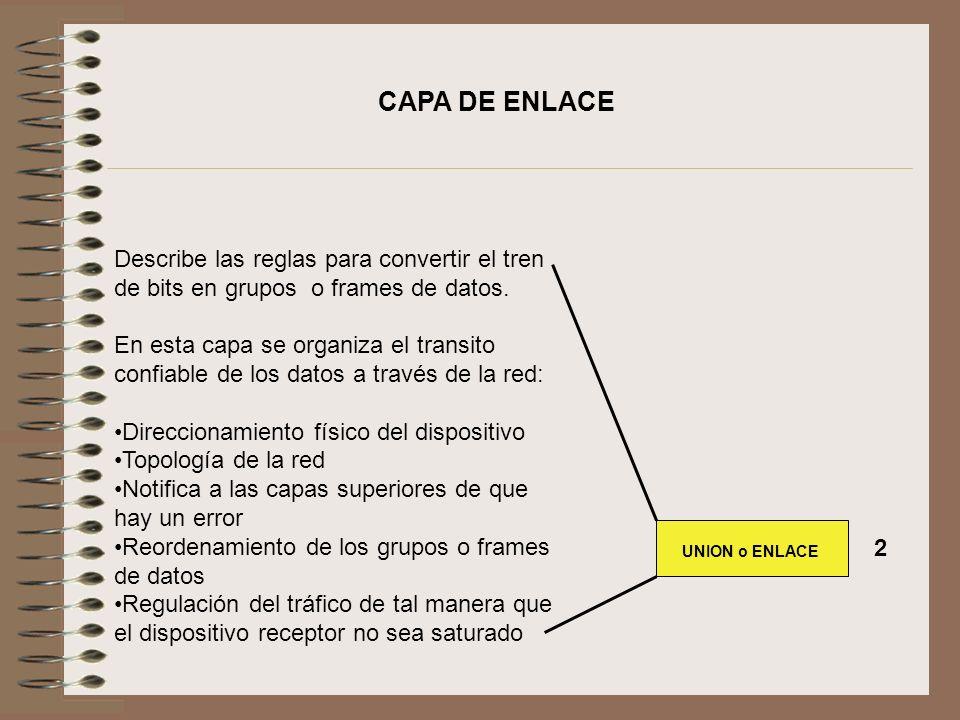 CAPA DE ENLACE Describe las reglas para convertir el tren de bits en grupos o frames de datos.