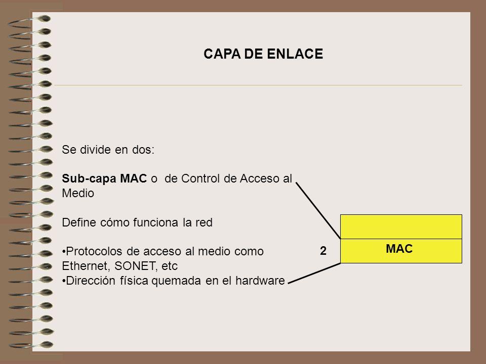 CAPA DE ENLACE Se divide en dos: