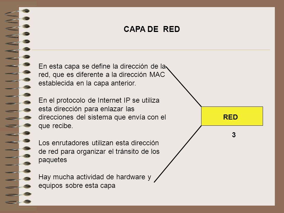 CAPA DE RED En esta capa se define la dirección de la red, que es diferente a la dirección MAC establecida en la capa anterior.