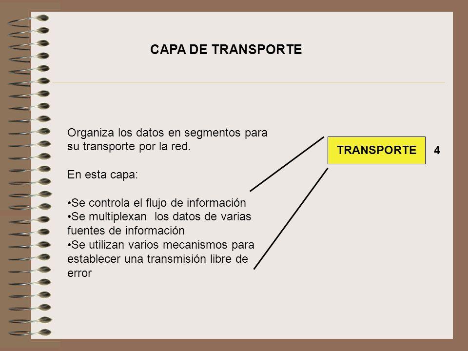 CAPA DE TRANSPORTE Organiza los datos en segmentos para su transporte por la red. En esta capa: