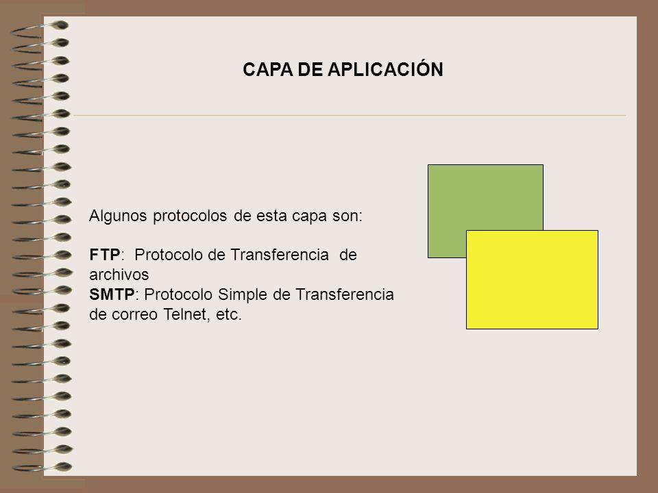 CAPA DE APLICACIÓN Algunos protocolos de esta capa son: