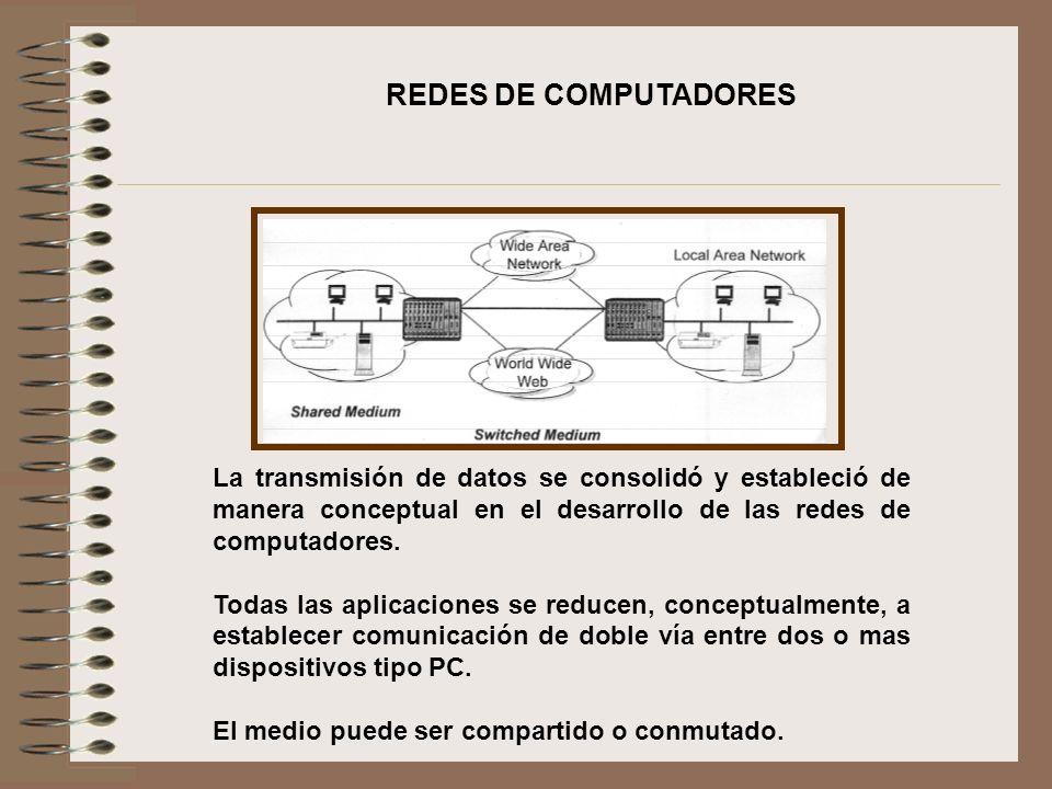 REDES DE COMPUTADORES La transmisión de datos se consolidó y estableció de manera conceptual en el desarrollo de las redes de computadores.